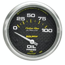 AutoMeter Products 4827 Gauge; Oil Pressure; 2 5/8in.; 100psi; Electric; Carbon Fiber