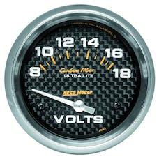 AutoMeter Products 4891 Gauge; Voltmeter; 2 5/8in.; 18V; Electric; Carbon Fiber