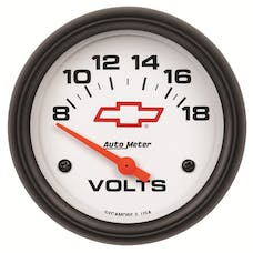 AutoMeter Products 5891-00406 Gauge; Voltmeter; 2 5/8in.; 18V; Electric; GM Bowtie White