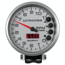 """AutoMeter Products 6886 5"""" Ultimate Plus (Engine + Driveshaft). 11,000 RPM, Silver"""