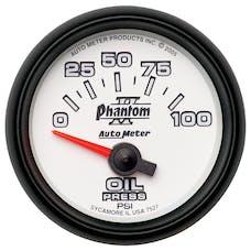 AutoMeter Products 7527 Gauge; Oil Pressure; 2 1/16in.; 100psi; Electric; Phantom II