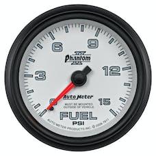 AutoMeter Products 7811 Gauge; Fuel Pressure; 2 5/8in.; 15psi; Mechanical; Phantom II