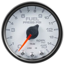 """AutoMeter Products P31512 Fuel Pressure Gauge, 2 1/16"""", 15PSI, Stepper Motor  White"""