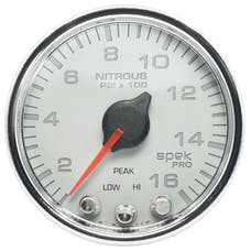 AutoMeter Products P32011 Gauge; Nitrous Press; 2 1/16in.; 1600psi; Stepper Motor w/Peak/Warn; Wht/Chrm; S
