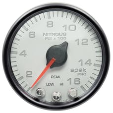 AutoMeter Products P32012 Gauge; Nitrous Press; 2 1/16in.; 1600psi; Stepper Motor w/Peak/Warn; Wht/Blk; Sp