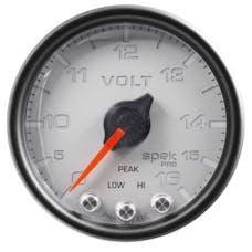 """AutoMeter Products P34422 Voltmeter Gauge, 2"""", 16V,  Stepper Motor w/Peak & Warning, Black/Silver"""