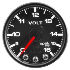 AutoMeter Products P34432 Volt; 2in.; 16V; Stepper Motor w/Peak/Warn; Blk/Blk; Spek