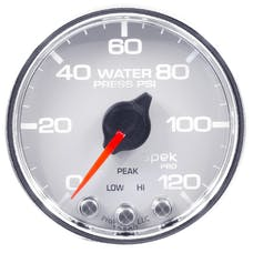 "AutoMeter Products P34511 Water Pressure Gauge, 2"", 120PSI, Stepper Motor w/Peak & Warning, White/Chrome"