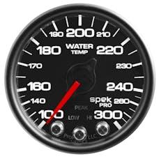 AutoMeter Products P34632 WTmp; 2in.; 300deg.F; DSM w/Pk/Wrn; Blk/Blk; Spek