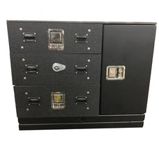 "Cargo Ease CL364032-FI-CC 3 Stacked Lockers 40""W, 1 Vertical Side Compartment15""W"