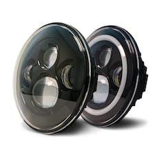 DV8 Offroad HL7JK-02 Jeep Wrangler 07-18 LED Projector Headlights w/Angel Eyes