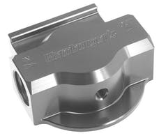Hamburger's Performance 3300 SINGLE Remote Oil Filter Base; PH8A (or equivalent); -12AN Ports-Billet Aluminum