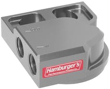 Hamburger's Performance 3301 SINGLE Remote Oil Filter Base; HP6 (or equivalent); -12AN Ports-Billet Aluminum