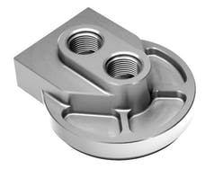 "Hamburger's Performance 3304 ""LOW-PROFILE"" Remote Oil Filter Base; HP6 (or equiv); 12AN Ports-Billet Aluminum"