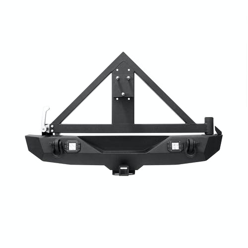 Iconic Accessories 232-5302 Textured Black Rear Bumper w/Hitch & Tire Carrier