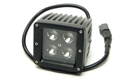 "Iconic Accessories 511-1031 3"" X 3"" 16W Square LED Light Spot 1,440 Lumens each Black Face"