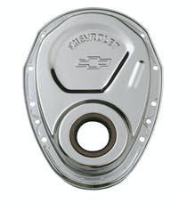 PROFORM 141-215 Timing Chain Cover; Chrome; Steel; With Chevy and Bowtie Logo; SB Chevy 69-91