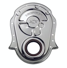 PROFORM 141-216 Engine Timing Chain Cover; Chrome; Steel; w/ Chevy and Bowtie Logo; For BB Chevy