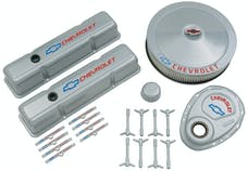 PROFORM 141-360 Engine Dress-Up Kit; Gray w/Blue Bowtie Logo; Fits SB Block Chevy Engines