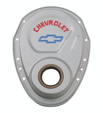 PROFORM 141-363 Timing Chain Cover; Gray; Steel; With Chevy and Bowtie Logo; For SB Chevy 69-91