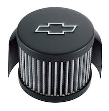 PROFORM 141-613 Engine Valve Cover Breather; Chevy Logo; Push-In Style w/Hood; Black Crinkle