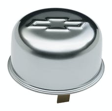 PROFORM 141-617 Engine Oil Breather Cap; Push-On Style; 1.82 Hole; Embossed Bowtie Logo; Chrome