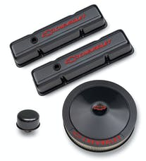 PROFORM 141-710 Engine Dress-Up Kit; Black Carbon Finish; Red Bowtie; Red Letters; For SB Chevy