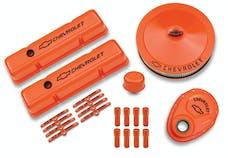 PROFORM 141-780 Engine Dress-Up Kit; Orange w/Black Bowtie Logo; Fits SB Block Chevy Engines