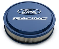 "PROFORM 302-381 Slant-Edge Aluminum Air Cleaner Kit, Ford Blue, Raised/Milled Emblems, 13"""