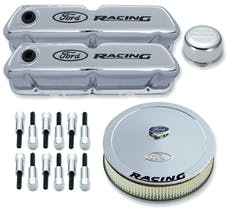 PROFORM 302-510 Engine Dress-Up Kit; Chrome w/Black Ford Racing Logo; Fits SB Ford Engines