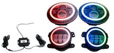 Race Sport Lighting RS3037050 7in Headlight and 4in Foglight ColorSMART Combo Complete RGB MuLFi-Color Kit