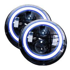 Race Sport Lighting RS-7LEDHLP-HALOWB-PR 7in LED Projector Kit 4x10W w/ White/Blue Halo - Plug-&-Play H4 H/L (Black)