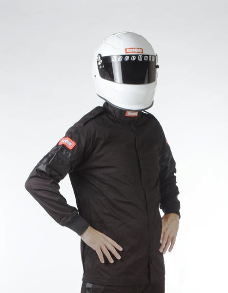 Racequip 111006 SFI-1 Pyrovatex Single-Layer Racing Fire Jacket (Black, X-Large)