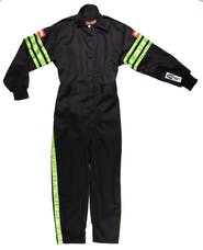 RaceQuip 1950790 SFI-1 Pyrovatex One-Piece Single-Layer Youth Racing Fire Suit (Black/Green-XXS)