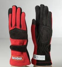 Racequip 355013 SFI-5 Double-Layer Racing Gloves (Red, Medium)