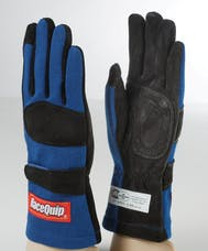 Racequip 355022 SFI-5 Double-Layer Racing Gloves (Blue, Small)
