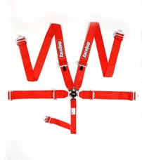 Racequip 741011 Sportsman SFI 16.1 5-Point Camlock Racing Harness Set (Red/Pull-Down)