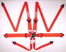 RaceQuip 818018 SFI 16.1 PRO HANS/HNR Latch & Link 6-Point Lap Belt Harness Set (Red)