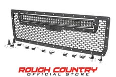 Rough Country 70190 Laser-Cut Mesh Grille w/ 30-inch Black Series Dual Row CREE LED Light Bar
