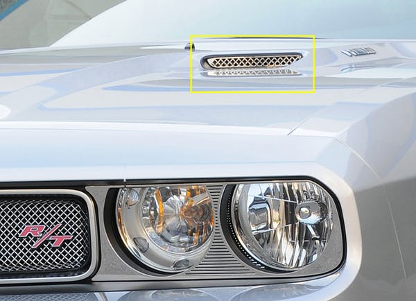 T-Rex Grilles 11417 T1 Hood Scoop, Polished, Stainless Steel, 2 Pc, Bolt-On