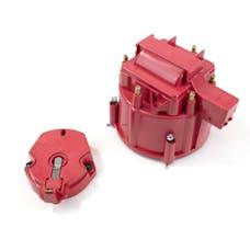 Top Street Performance JM6953R HEI Distributor Cap & Rotor Kit Oem Cap, Coil Cover, Rotor, Red