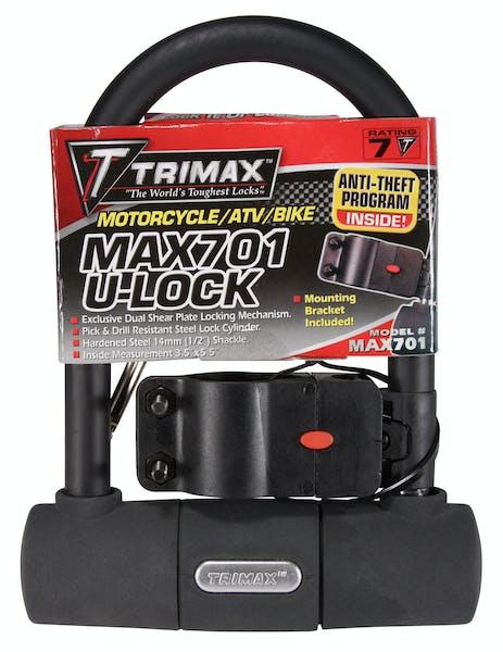 "Trimax MAX701 Medium Security Mini U-Shackle Lock 3.5"" X 5.5"" with 15mm Shackle"