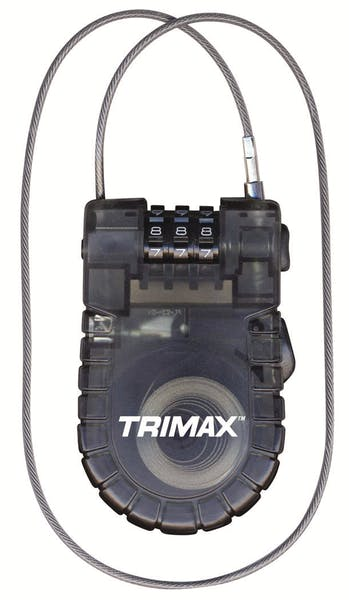 """Trimax T33RC Retractable Cable 3-Digit Combo Lock (3Mm X 36"""" L)"""