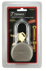 "Trimax TPL2251L TRIMAX Hardened 64mm Solid Steel Padlock with 2.25"" X 11mm Dia Shackle (Re-"
