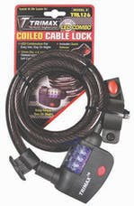 Trimax TRL126 Led Lighted Medium Security Resettable Combo with Bracket - Coiled 6' X 12m