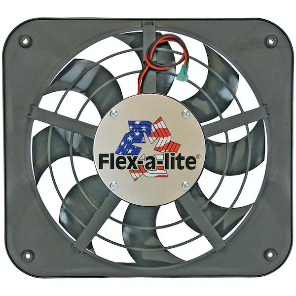 """Flex-A-Lite 123 Fan Electric 12"""" single shrouded Lo-Profile S-blade pusher fan w/o controls"""