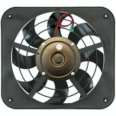 "Flex-A-Lite 133 Fan Electric 12"" single shrouded Lo-Profile S-blade pusher fan w/ controls"